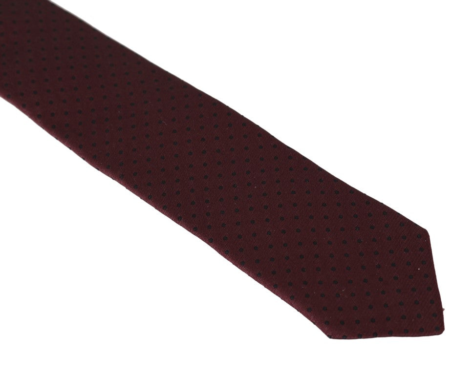 Bordeaux Silk Polka Dot Pattern Slim Tie - EnModaLife.Com