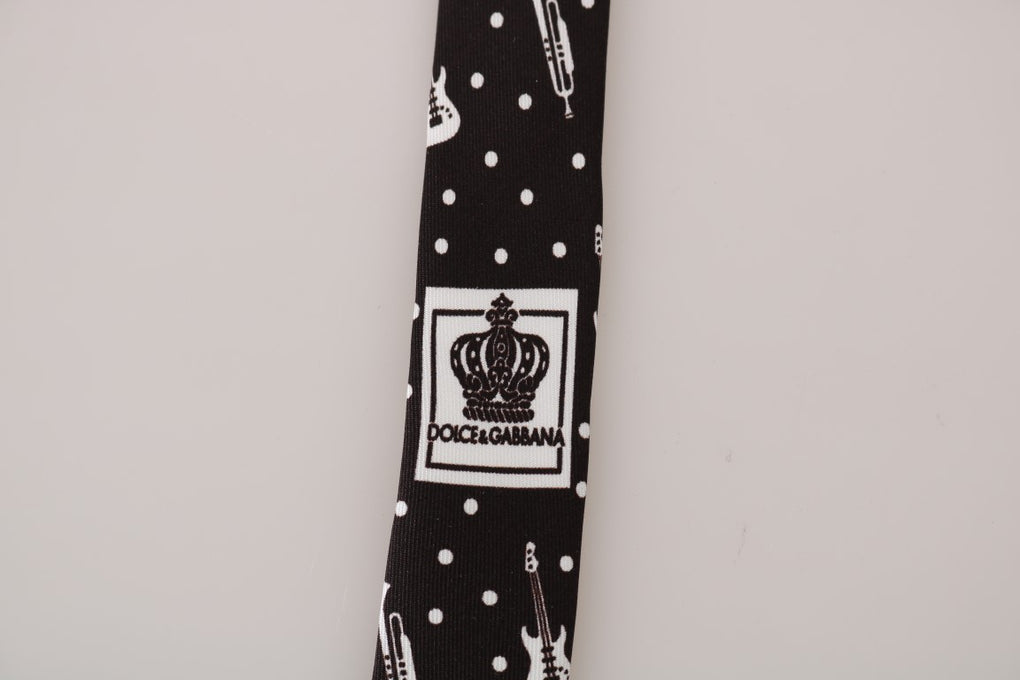 Black Silk White Polka Dot Print Tie - EnModaLife.Com