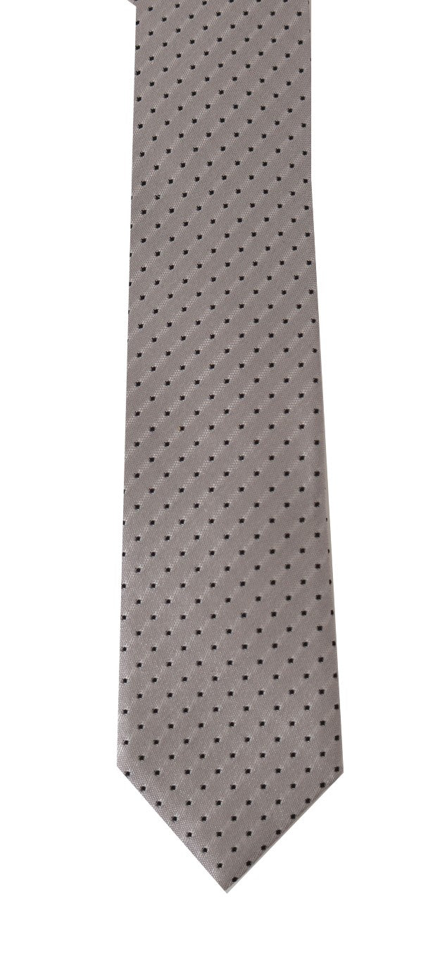 Gray Silk Black Dotted Pattern Slim Tie - EnModaLife.Com