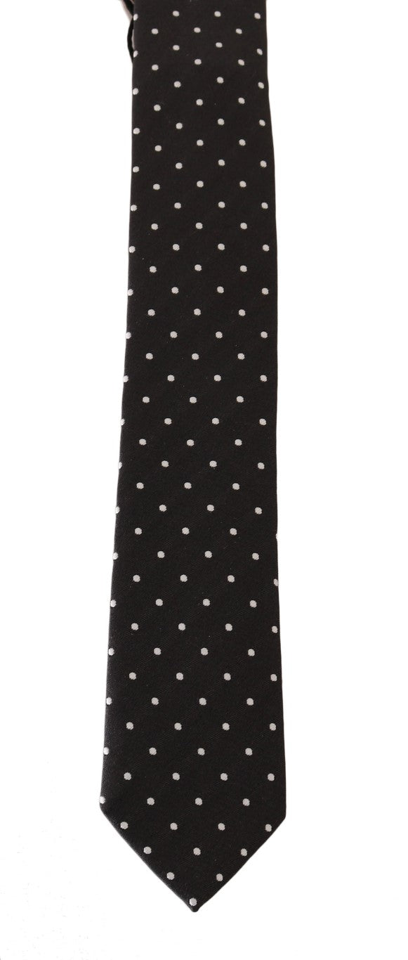 Black Silk White Polka Dot Print Slim Tie - EnModaLife.Com