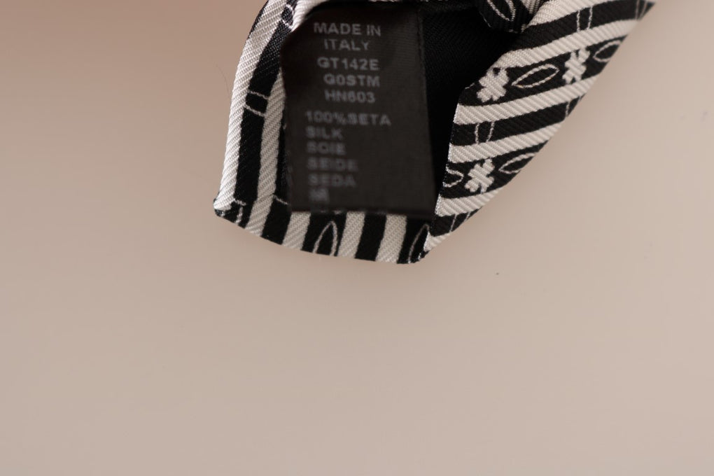 Black White Striped Silk Slim Tie - EnModaLife.Com