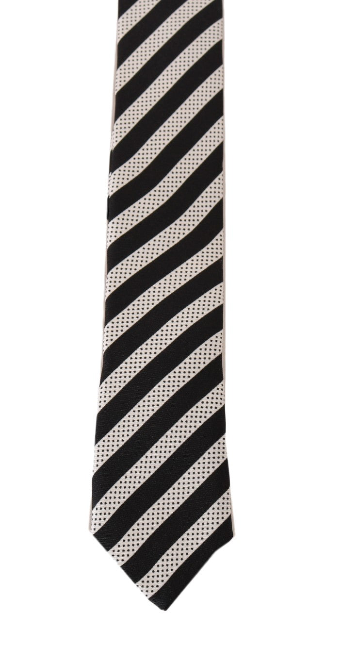 Black White Silk Striped Dotted Slim Tie - EnModaLife.Com