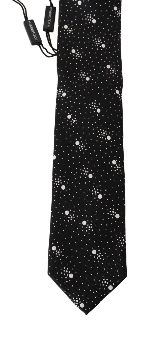 Black Silk Dotted Classic Tie - EnModaLife.Com