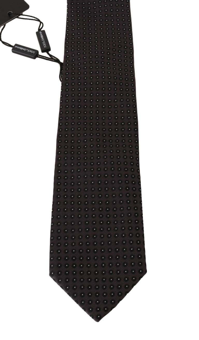 Gray Silk Black Dotted Classic Tie - EnModaLife.Com