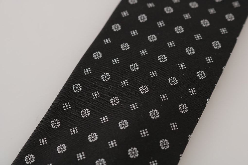 Black Silk White Pattern Tie - EnModaLife.Com