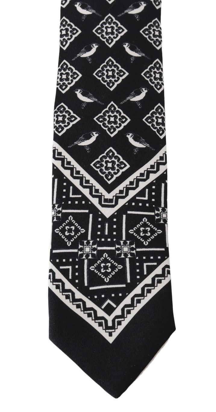 Black Silk White Bird Print Tie - EnModaLife.Com