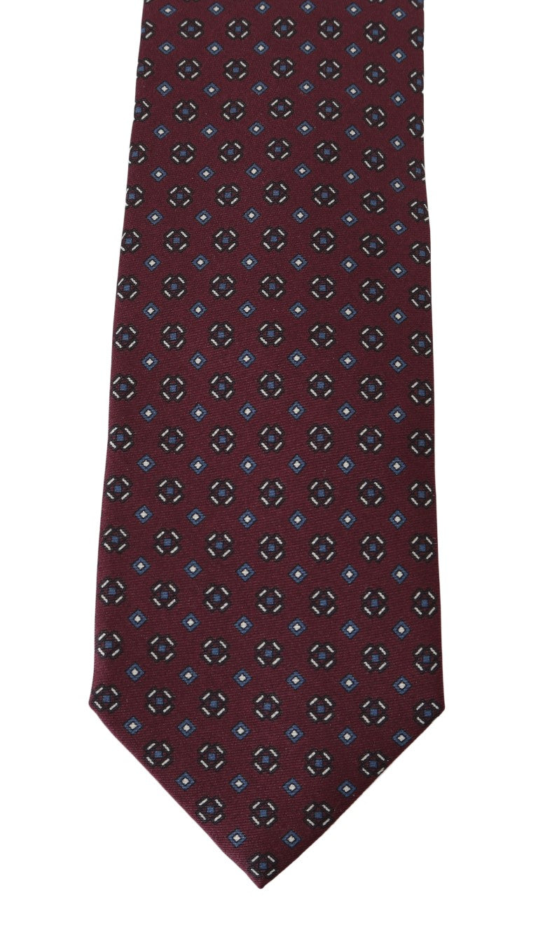 Bordeaux Silk Dotted Wide Tie - EnModaLife.Com