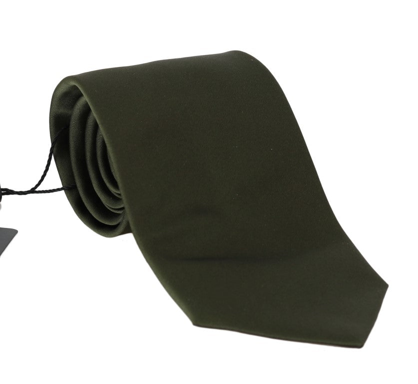 Green Solid Silk Wide Tie - EnModaLife.Com