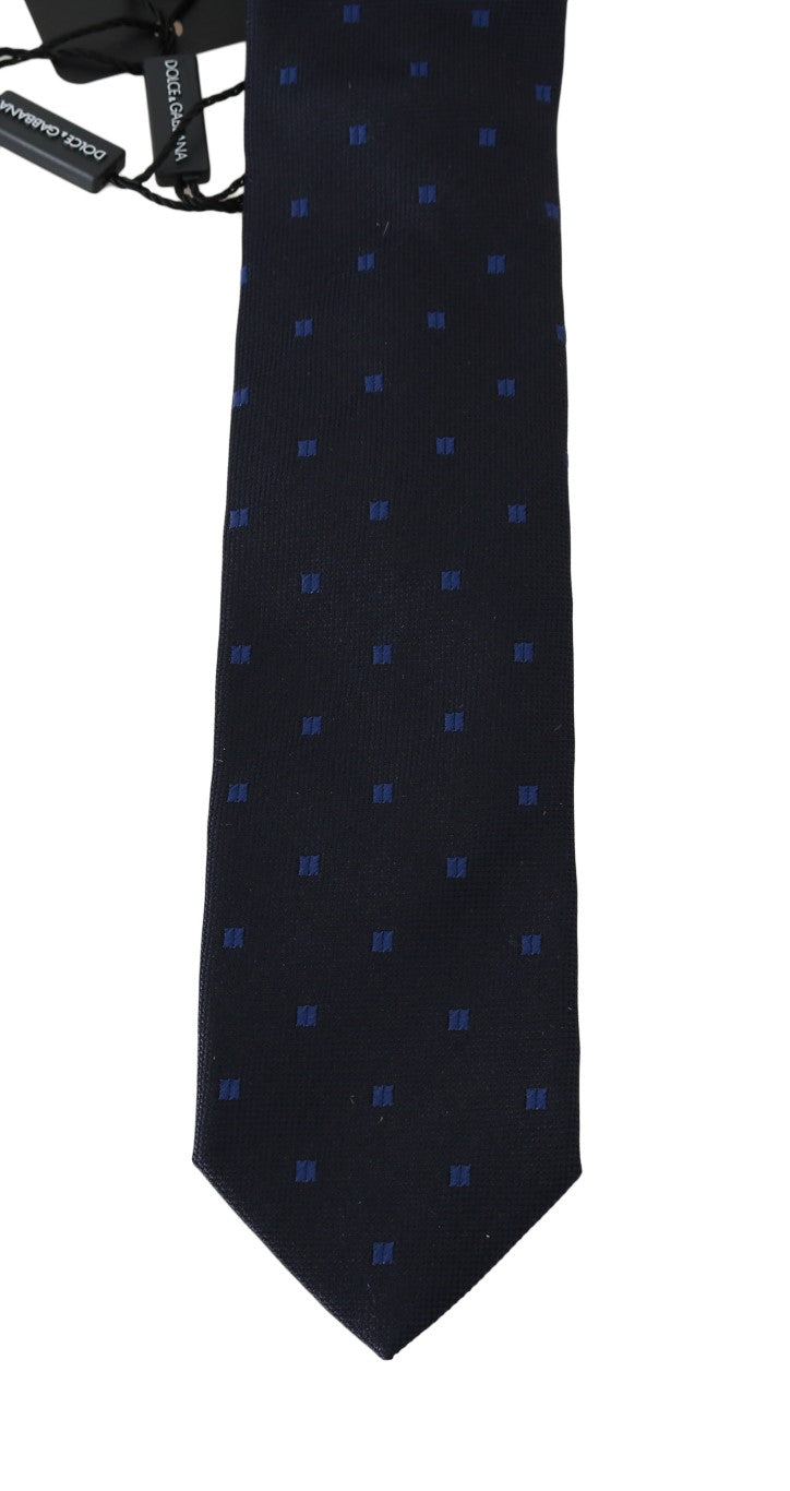 Dark Blue Silk Patterned Classic Tie - EnModaLife.Com