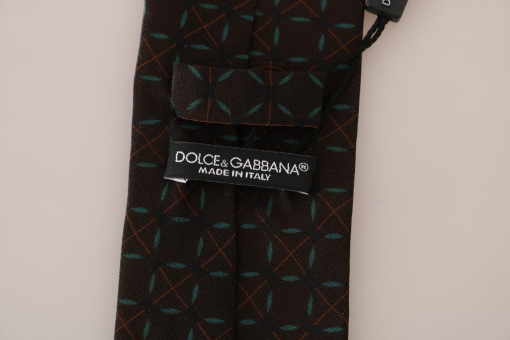 Brown Silk Patterned Classic Tie - EnModaLife.Com