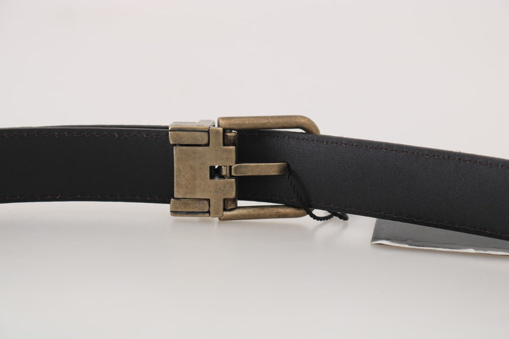 Brown Goatskin Gold Buckle Mens Belt - EnModaLife.Com