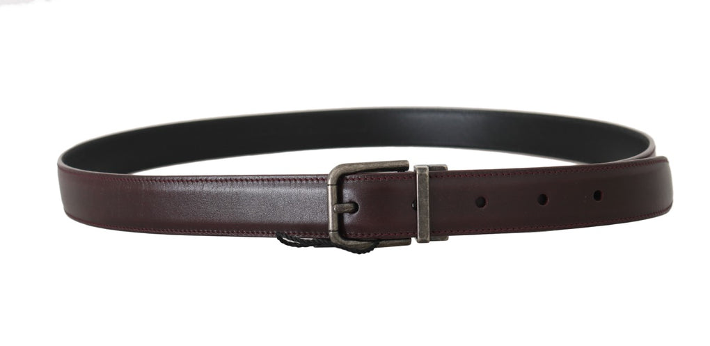 Bordeaux Leather Gray Brushed Buckle Belt - EnModaLife.Com
