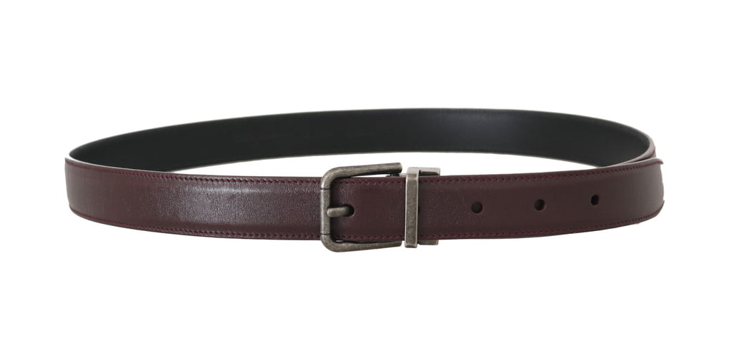 Bordeaux Leather Brushed Buckle Mens Belt - EnModaLife.Com