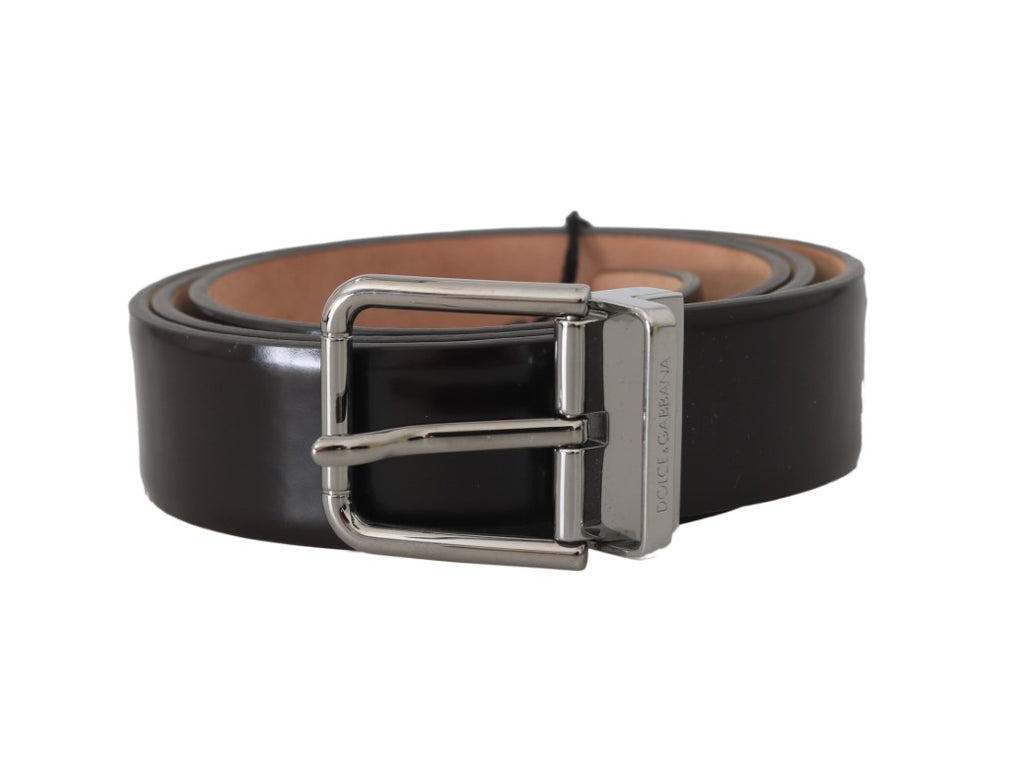Brown Leather Silver Buckle Mens Belt - EnModaLife.Com