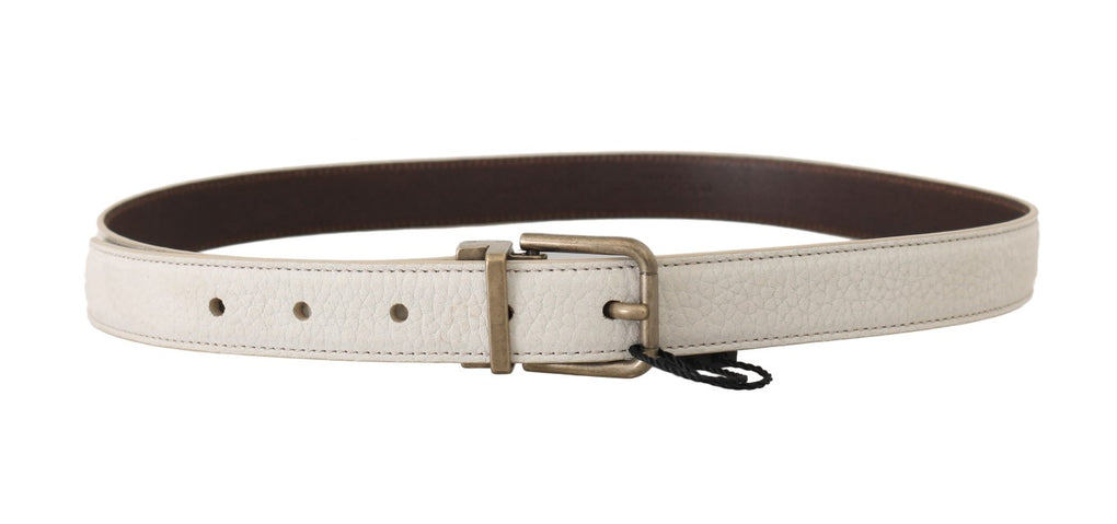 White Patterned Leather Gold Buckle Belt - EnModaLife.Com