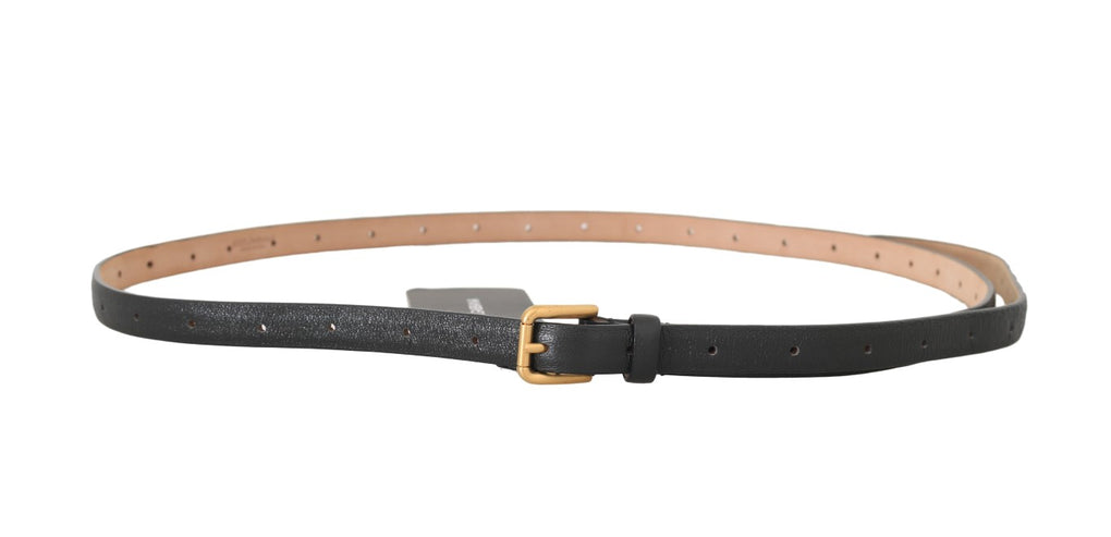 Black Leather Gold Logo Buckle Belt - EnModaLife.Com
