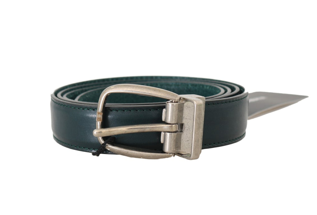 Green Leather Silver Adjustable Buckle Belt - EnModaLife.Com