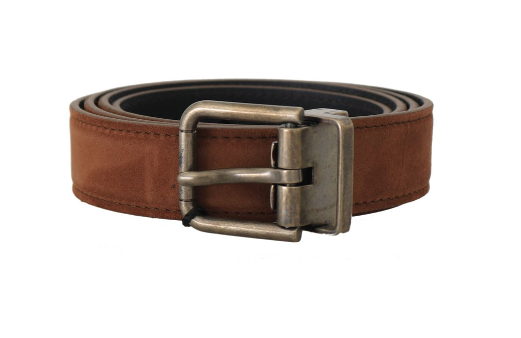Brown Suede Leather Brushed Buckle Mens Belt - EnModaLife.Com