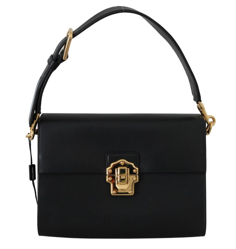 Black Leather LUCIA Shoulder Borse Sicily Purse - EnModaLife.Com