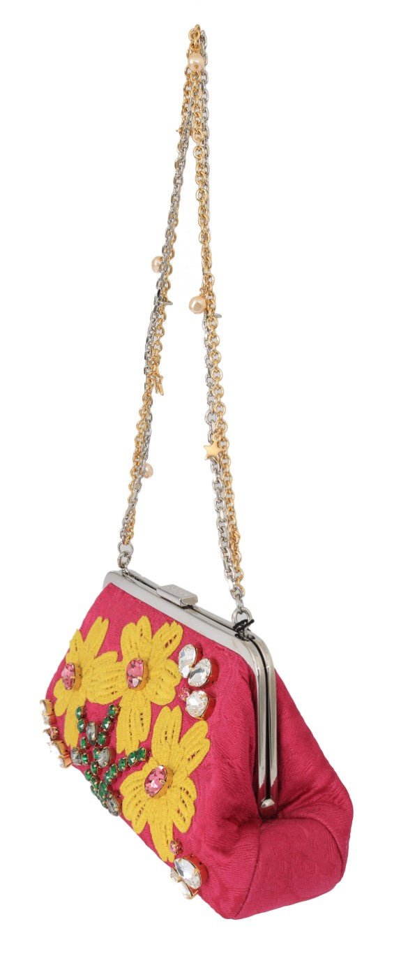 Pink Brocade Floral Crystal Applique Evening Purse - EnModaLife.Com