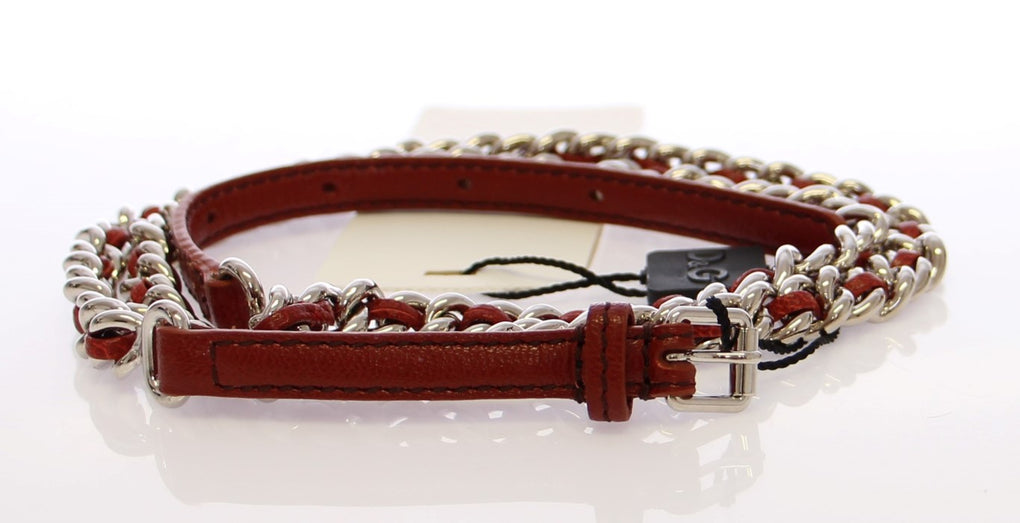 Brown Leather Silver Metal Logo Belt - EnModaLife.Com