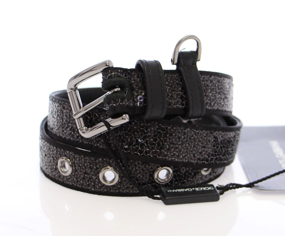 Black Silk Sequined Silver Logo Belt - EnModaLife.Com