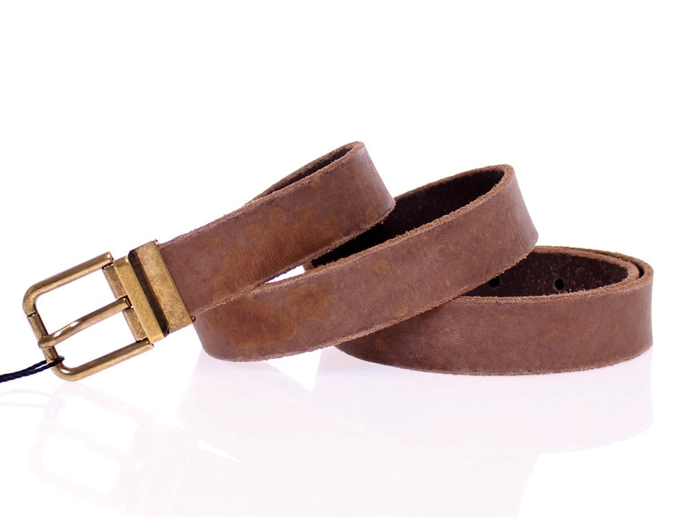 Brown Leather Logo Belt - EnModaLife.Com