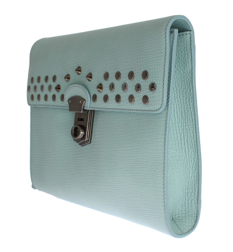 Blue Leather Studded Document Portfolio Briefcase Bag - EnModaLife.Com