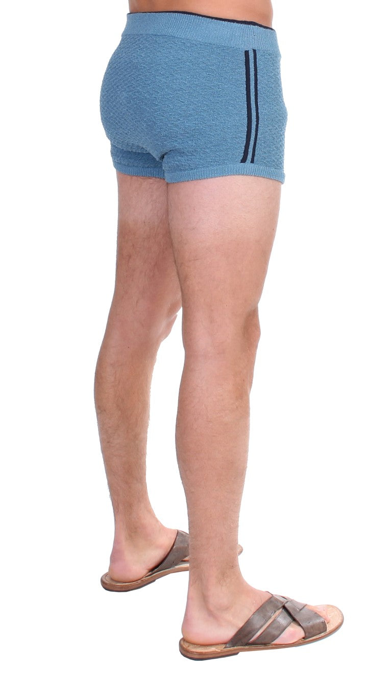 Blue Cotten Blend Logo Casual Short Shorts - EnModaLife.Com