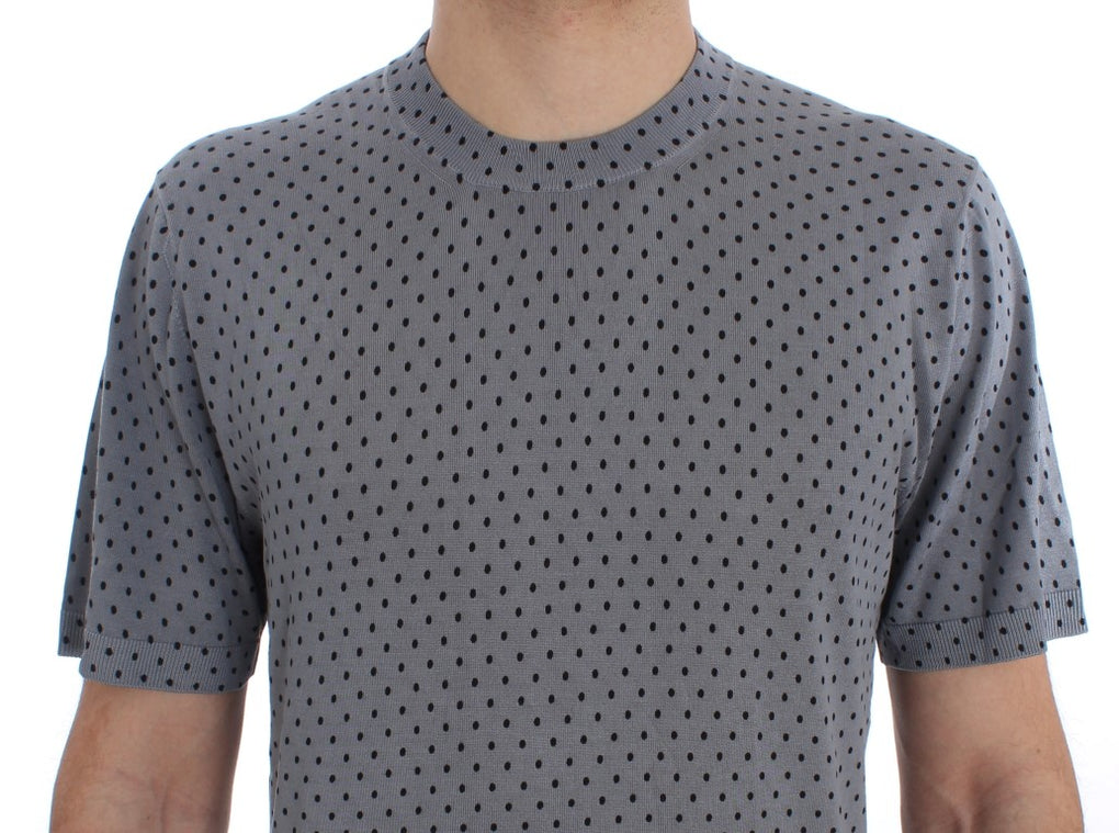Blue Polka Dotted Silk Pullover T-shirt - EnModaLife.Com