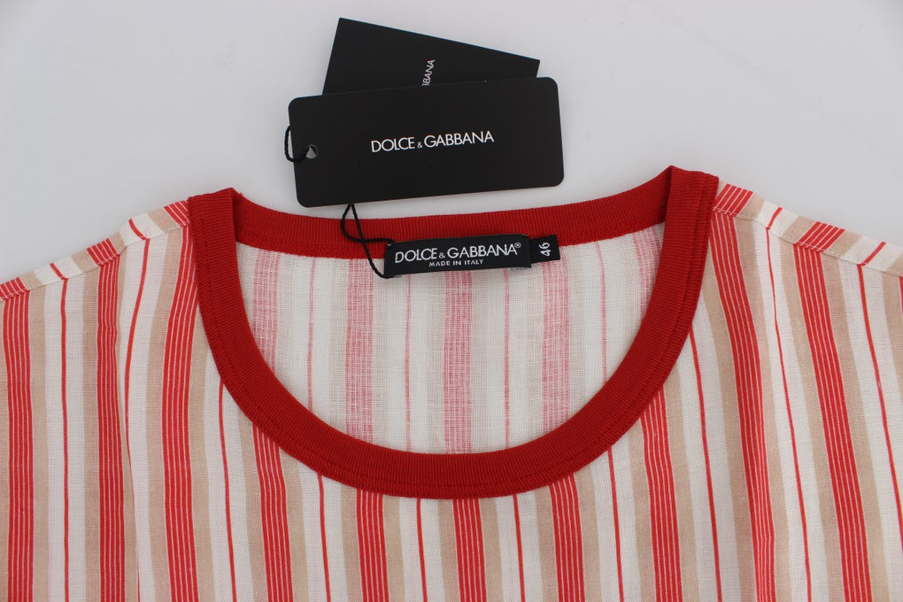Red And White Striped DICEMBRE T-Shirt - EnModaLife.Com