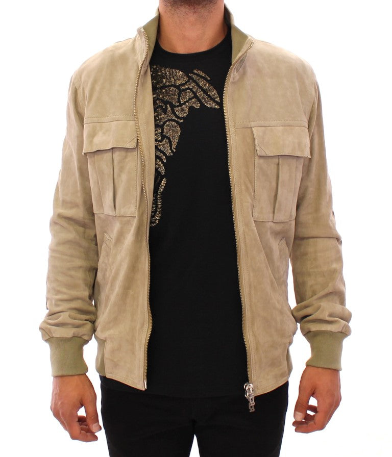 Beige suede leather jacket coat - EnModaLife.Com