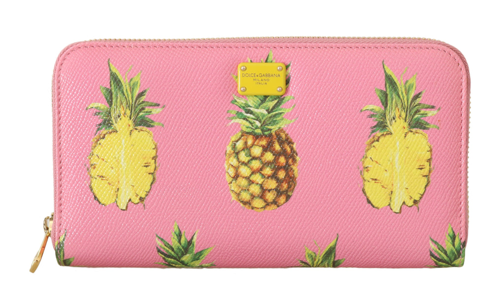 Pink Leather Pineapple Zip Around Continental Wallet - EnModaLife.Com