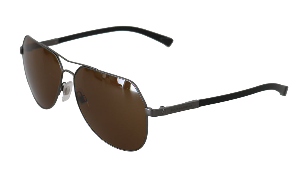 Black Brown Metal DG2133 BASALTO Pilot Sunglasses - EnModaLife.Com