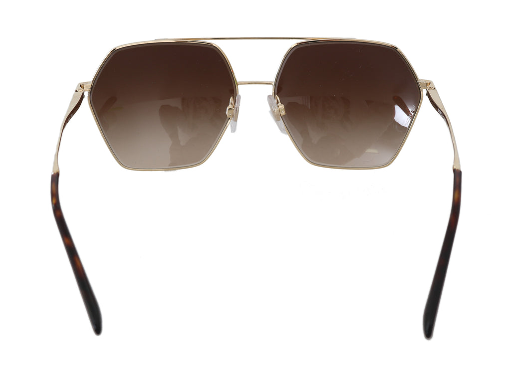 Gold DG2157 Gradient Brown Pilot Sunglasses - EnModaLife.Com
