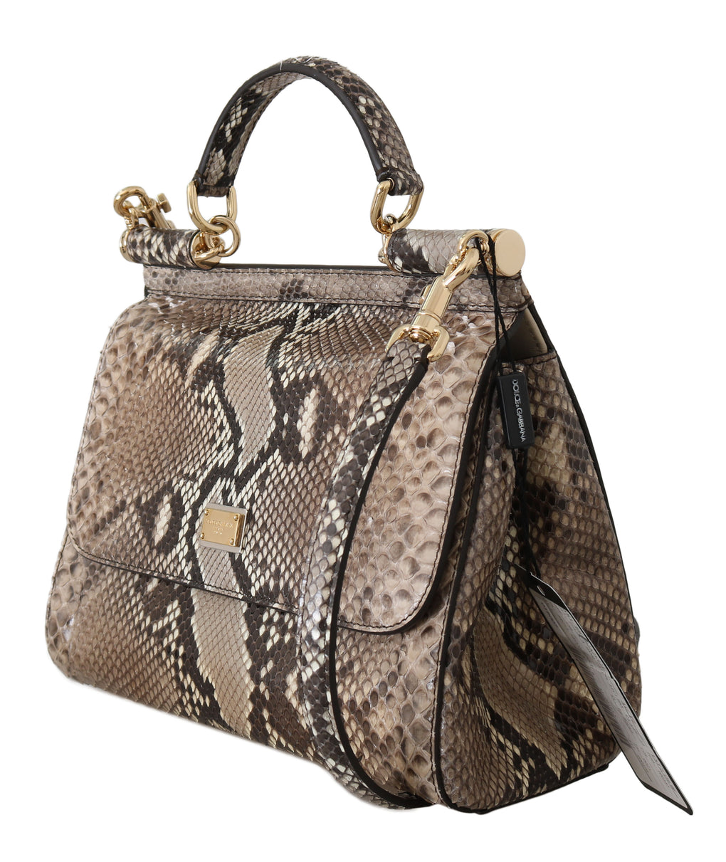 Brown MISS SICILY Python Snakeskin Hand Shoulder Bag - EnModaLife.Com
