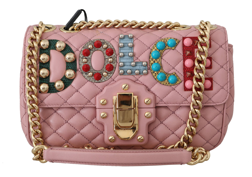 LUCIA Pink Quilted Leather Shoulder Satchel Purse - EnModaLife.Com