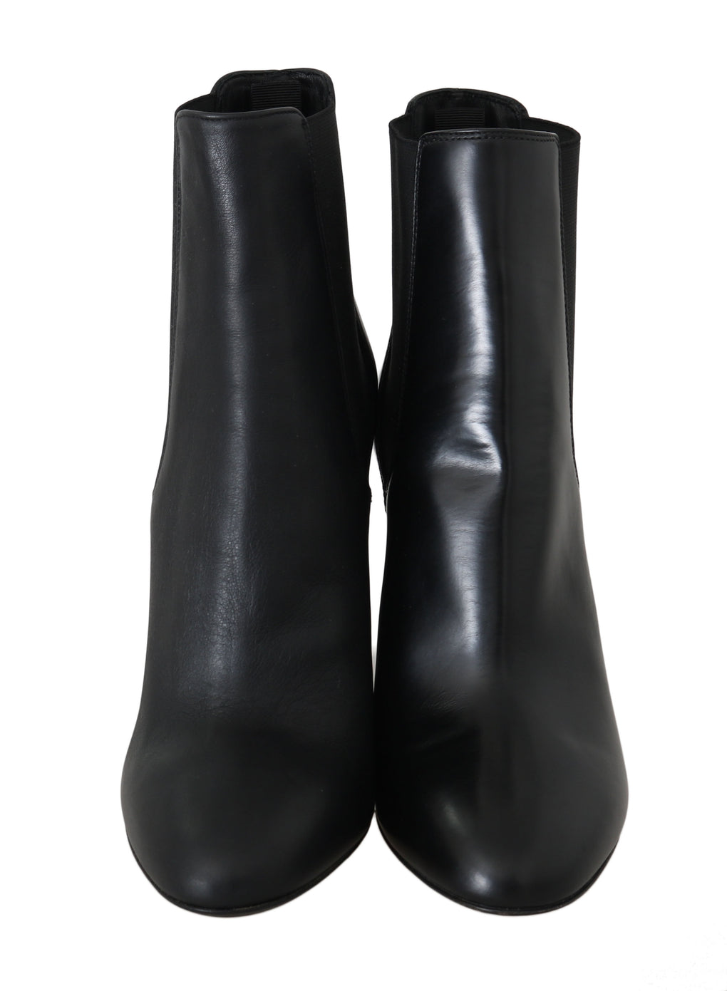 Black Leather Chelsea Heels Boots - EnModaLife.Com