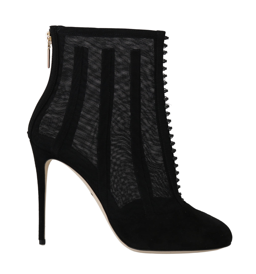 Black Suede Tulle Ankle Booties - EnModaLife.Com