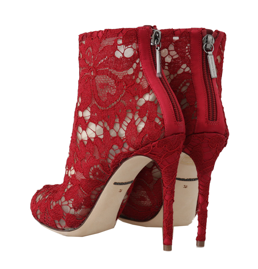 Red Leather Cotton Lace Ankle Booties - EnModaLife.Com