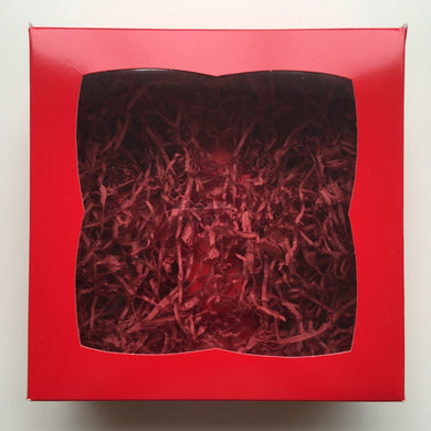 Red Hamper Box With Red Shred  (Holds 4)