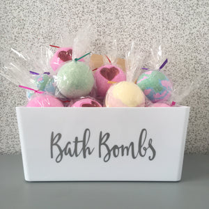 White Bath Bomb Storage Basket