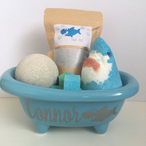 Personalised Shark Bath Tub Gift Set