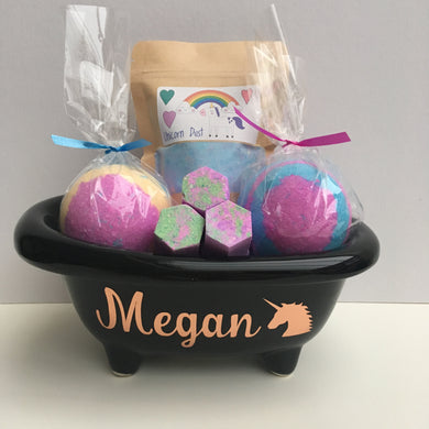 Personalised Rose Gold Unicorn Bath Tub Gift Set