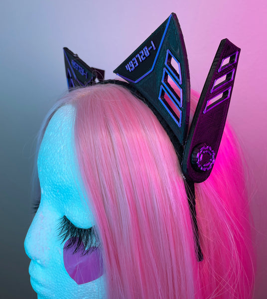 Purple Cyber Neko Ears