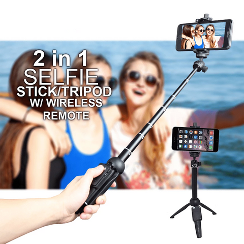 Bluetooth 2 in 1 Selfie Stick (Monopod + Tripod) w/ detachable remote