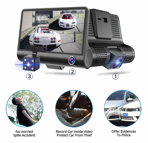 Car DVR 3 Cameras Lens 4.0 Inch Dash Camera