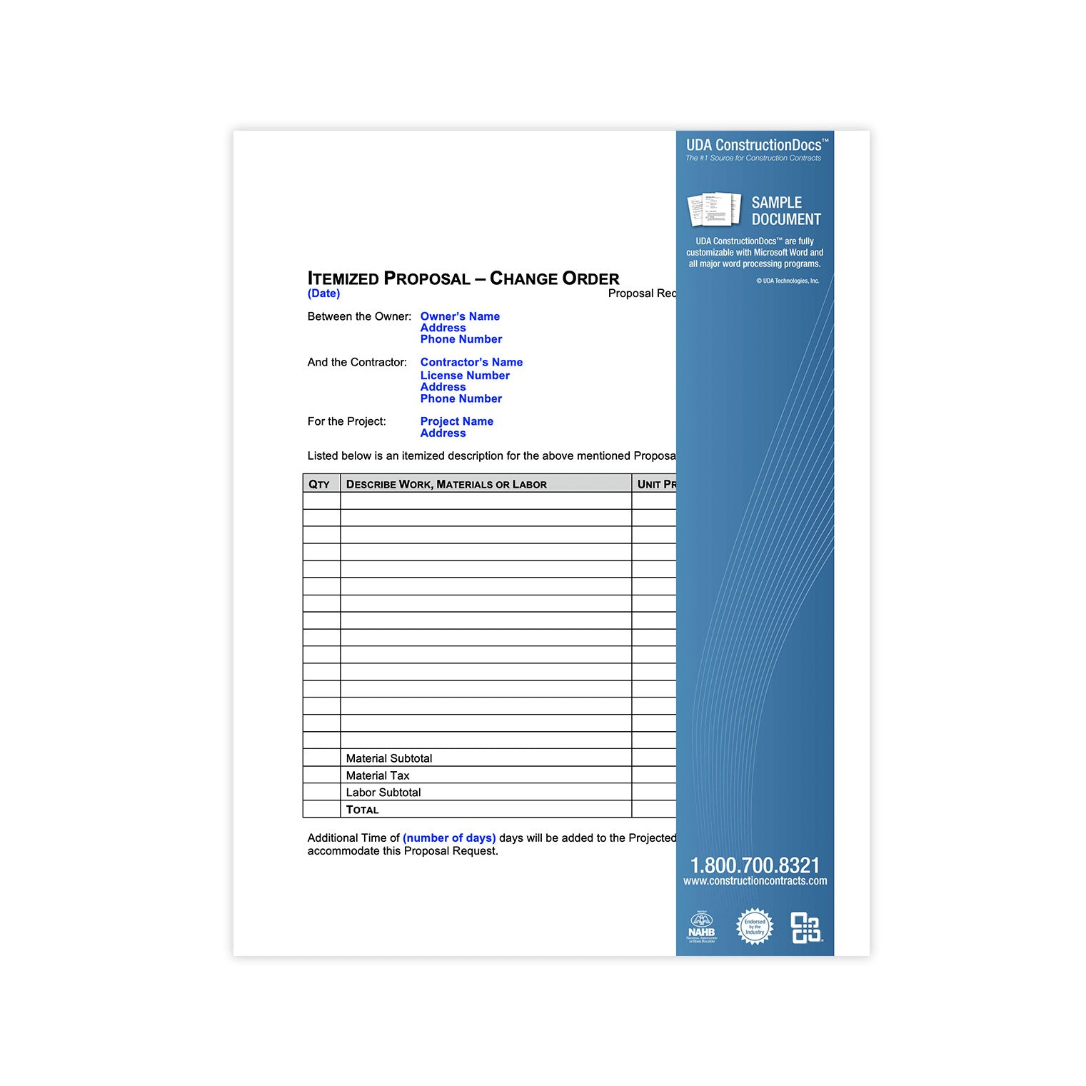 UDA ConstructionDocs™ Change Orders - CAK06