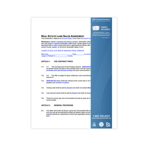 UDA ConstructionDocs™ Real Estate Land Sales Contract - REK03