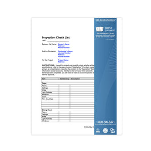 UDA ConstructionDocs™ Inspection Check List - CAK11